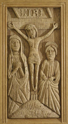 Carved oak panel - The Crucifixion