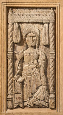 Carved oak panel - The Annunciation with the Virgin Mary