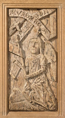 Carved oak panel - The Annunciation with the angel