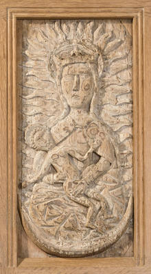 Carved oak panel - The Virgin and Child