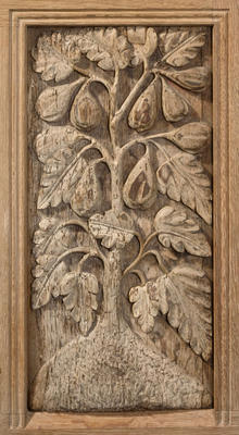 Carved oak panel - fruit tree