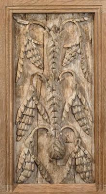 Carved oak panel - grape vine