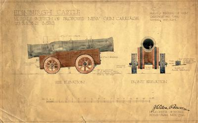 Drawing - Mons Meg carriage